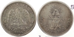 World Coins - MEXICO: 1884/3-Zs S 50 Centavos