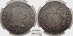 Us Coins - 1795 Flowing Hair; Two Leaves 1 Dollar (Silver) B-1 NGC F-15
