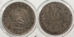 World Coins - MEXICO: 1904-Mo M 10 Centavos