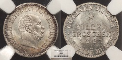 World Coins - GERMAN STATES Prussia Wilhelm I 1867-A 1/2 silbergroschen NGC MS-67
