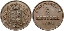 World Coins - GERMAN STATES: Wurttemberg 1859 1/2 Kreuzer