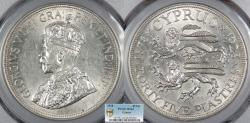 World Coins - CYPRUS George V 1928 45 Piastres (Dollar - Crown) PCGS MS-63