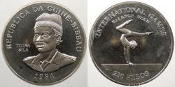 World Coins - GUINEA-BISSAU: 1984 Gymnastics. 250 Pesos Proof