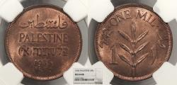 World Coins - PALESTINE 1935 Mil NGC MS-64 RB