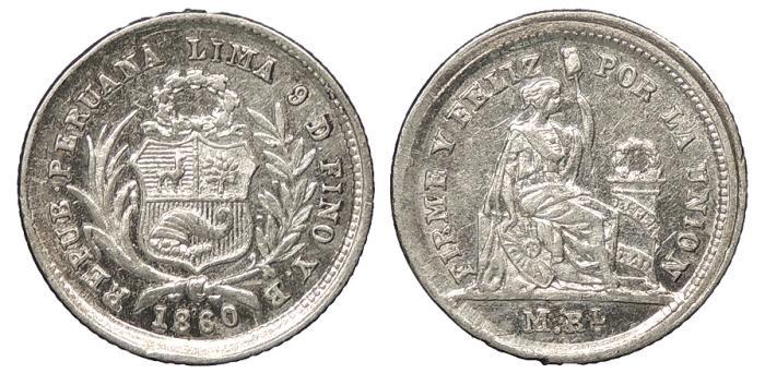 World Coins - PERU Republic 1860 1/2 Real UNC
