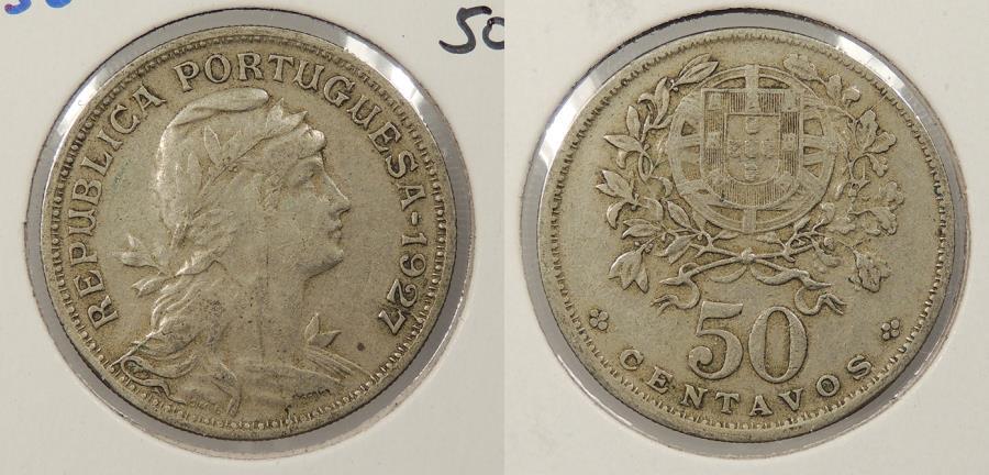 World Coins - PORTUGAL: 1927 50 Centavos