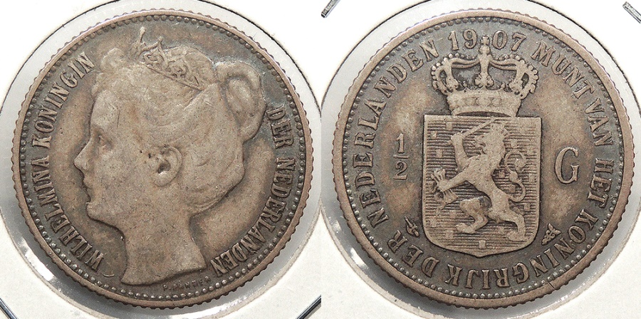 World Coins - NETHERLANDS: 1907 1/2 Gulden