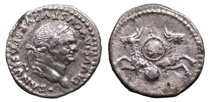 Ancient Coins - Divus Vespasian Died 79 A.D. Denarius Rome Mint Good VF