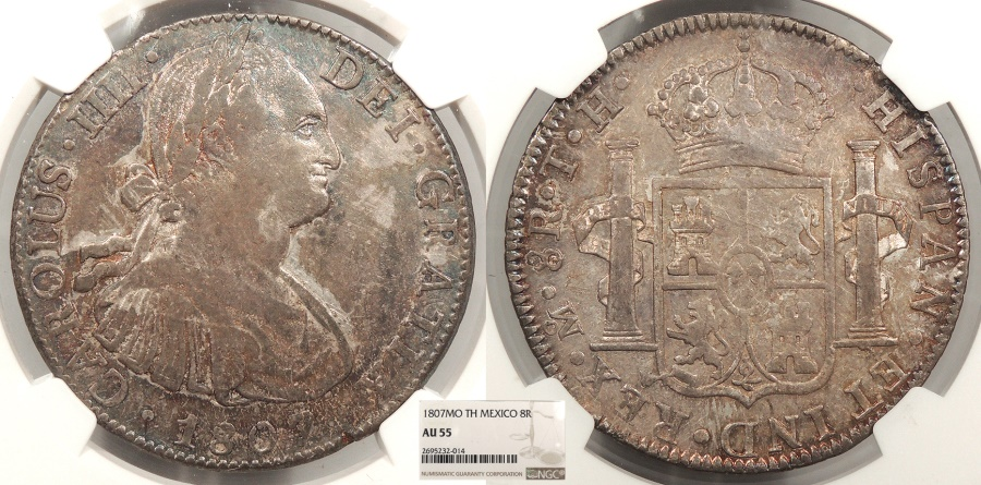 World Coins - MEXICO Spanish Colonial 1807-Mo TH 8 Reales NGC AU-55