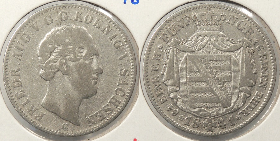 World Coins - GERMAN STATES: Saxony 1841-G 1/6 Thaler