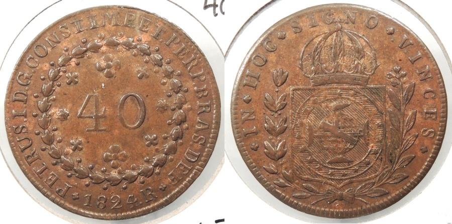World Coins - BRAZIL: 1824-R 40 Reis