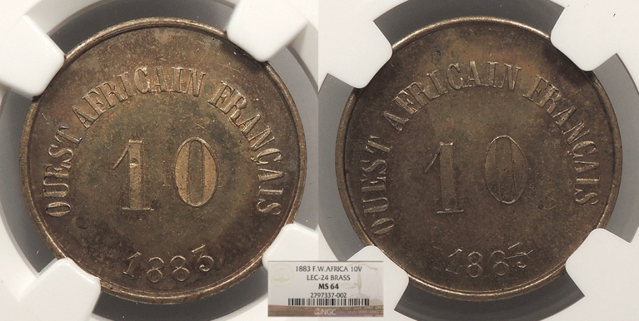 World Coins - FRENCH WEST AFRICA New Gabon 1883 Value 10 Units (= 50 francs) NGC MS-64