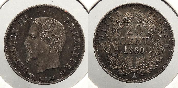 World Coins - FRANCE: 1860-A 20 Centimes