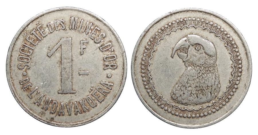 World Coins - MADAGASCAR Societe des Mines d'Or de Andavakoera ND (1920) Franc EF