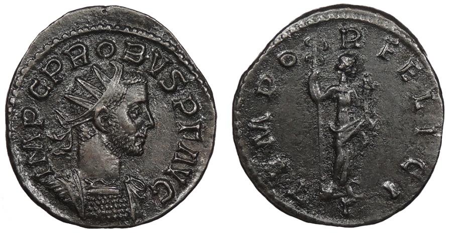 Ancient Coins - Probus 276-282 A.D. Antoninianus Lugdunum Mint EF