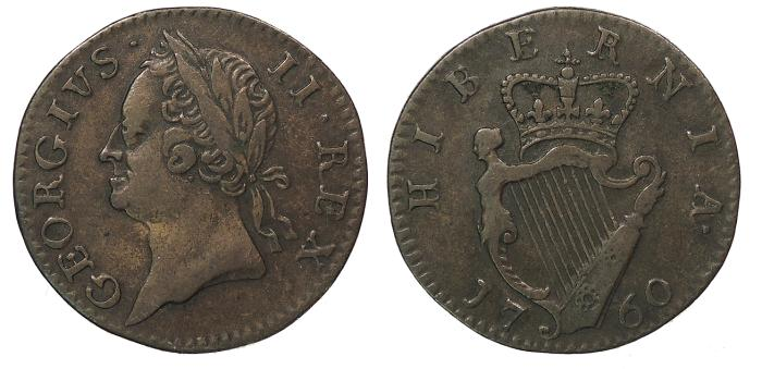 World Coins - IRELAND George II 1760 Farthing VF