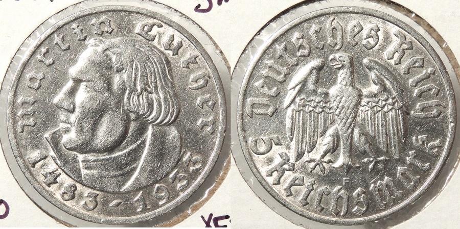 World Coins - GERMANY: Third Reich 1933-F Martin Luther - 20,000 struck 5 Mark