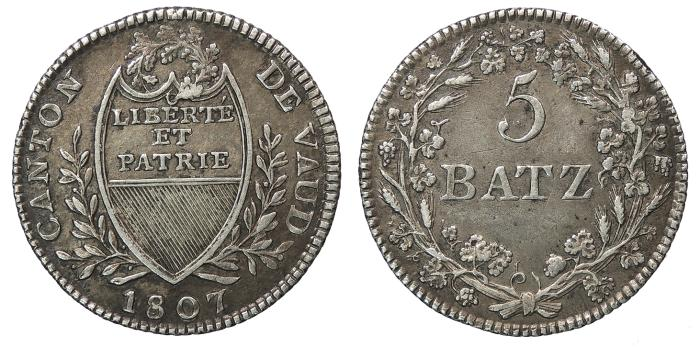 World Coins - SWISS CANTONS Vaud Canton Vaud 1807 5 Batzen EF