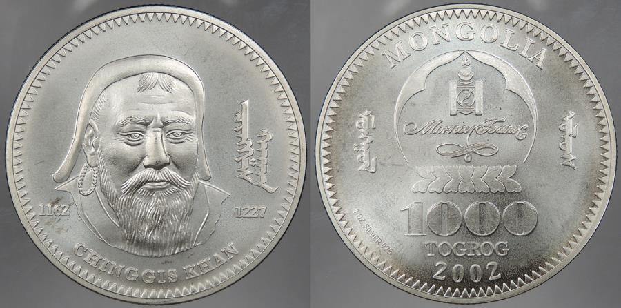 World Coins - MONGOLIA: 2002 1000 Togrog