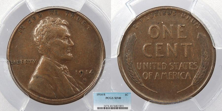 US Coins - 1914 S Lincoln 1 Cent PCGS EF-40