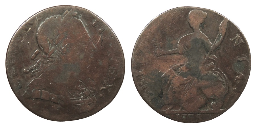 World Coins - GREAT BRITAIN George III 1775 Contemporary Counterfeit Halfpenny Fine
