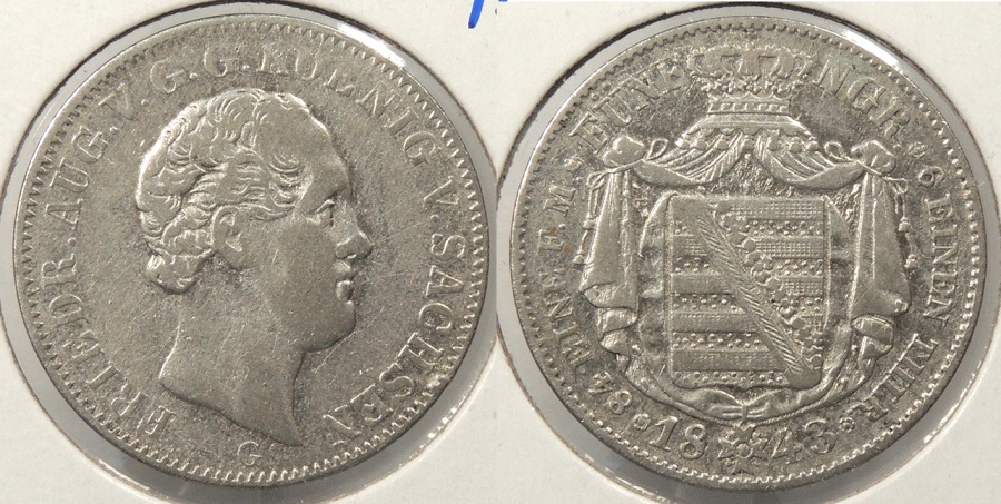 World Coins - GERMAN STATES: Saxony 1843-G 1/6 Thaler