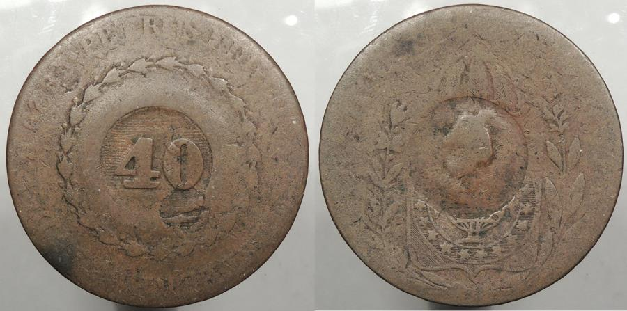 World Coins - BRAZIL: ND (1835) Countermark on 1829-R 80 Reis. Odd anvil mark. 40 Reis