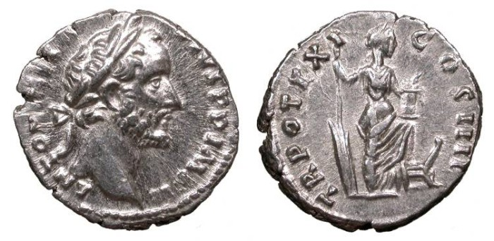 Ancient Coins - Antoninus Pius 138-161 A.D. Denarius Rome Mint Good VF