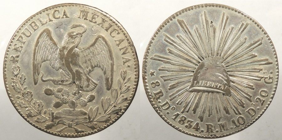 World Coins - MEXICO: 1834-Do RM 8 Reales