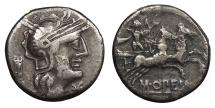Ancient Coins - M. Opimius 131 B.C. Denarius Rome Mint Near VF