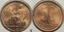 World Coins - SPAIN: 1937 (34) 50 Centimos