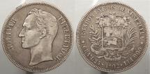 World Coins - VENEZUELA: 1902 5 Bolivares