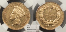 Us Coins - 1874 Indian Princess 3 Dollars NGC AU-55