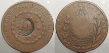 World Coins - BRAZIL: ND (1835) Countermark on 1828-R 80 Reis 40 Reis