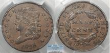 Us Coins - 1828 Classic Head 1/2 Cent 13 Stars PCGS AU-53