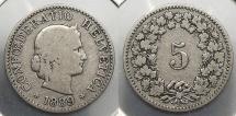 World Coins - SWITZERLAND: 1889 Mintage 500,000 5 Rappen