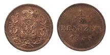 World Coins - GERMAN STATES Schwarzburg-Rudolstadt Friedrich Günther 1855 1/8 Kreuzer BU