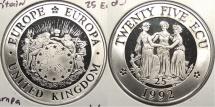 World Coins - GREAT BRITAIN: Europa 1992 25 Ecu Proof
