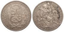 World Coins - PERU 1894-TF Sol AU