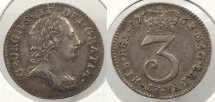 World Coins - GREAT BRITAIN: 1763 Threepence