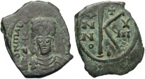 Ancient Coins - Maurice Tiberius 582-602 Half Follis Constantinople mint.