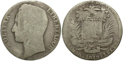 World Coins - VENEZUELA: 1912 Trimmed 2 Reales