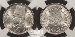 World Coins - EGYPT Farouk 1937 / AH 1356 2 Piastres NGC MS-62