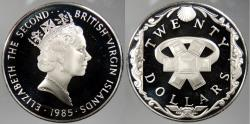 World Coins - BRITISH VIRGIN ISLANDS: 1985 Emerald Ring. 20 Dollars Proof