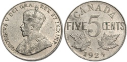 World Coins - CANADA: 1924 5 Cents
