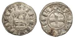 World Coins - CRUSADERS Duchy of Athens William (Guillaume) I de la Roche 1280-1287 Denier Tournois Good VF
