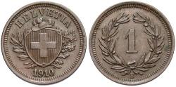 World Coins - SWITZERLAND: 1910 B 1 Rappen