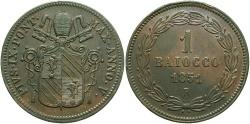 World Coins - ITALY: Papal States Pius IX 1851-R 1 Baiocco