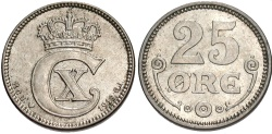 World Coins - DENMARK: 1919 25 Ore