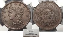 Us Coins - 1853 Coronet 1 Cent NGC MS-65 BN